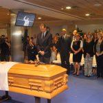 S.M. el rey Felipe VI visita la capilla ardiente del presidente de honor del Real Madrid, Alfredo Di Stefano