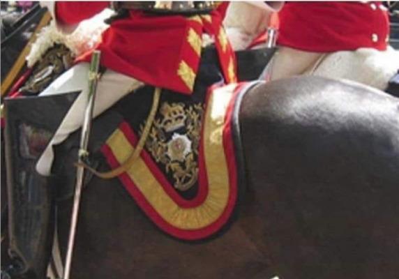 La Guardia Real Inglesa porta en la montura oficial la Bandera Española
